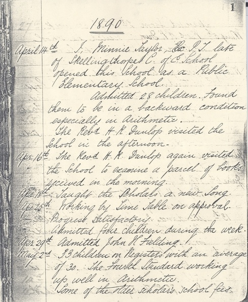 Minnie Taylor, School Log Book, 1890